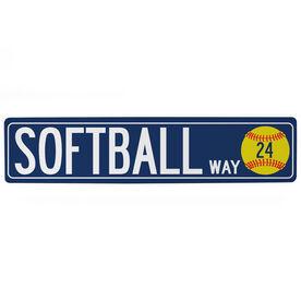 "Softball Aluminum Room Sign - Softball Way With Number (4""x18"")"
