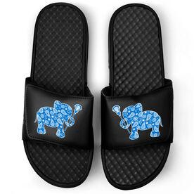 Girls Lacrosse Black Slide Sandals - Lax Elephant