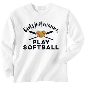Softball Tshirt Long Sleeve Girls Just Wanna Play Softball with Glitter
