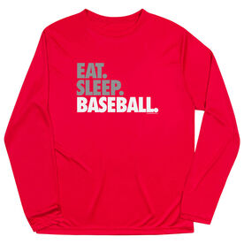 Baseball Long Sleeve Performance Tee - Eat Sleep Baseball Bold Text