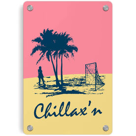 Girls Lacrosse Metal Wall Art Panel - Chillax'n Beach Girl