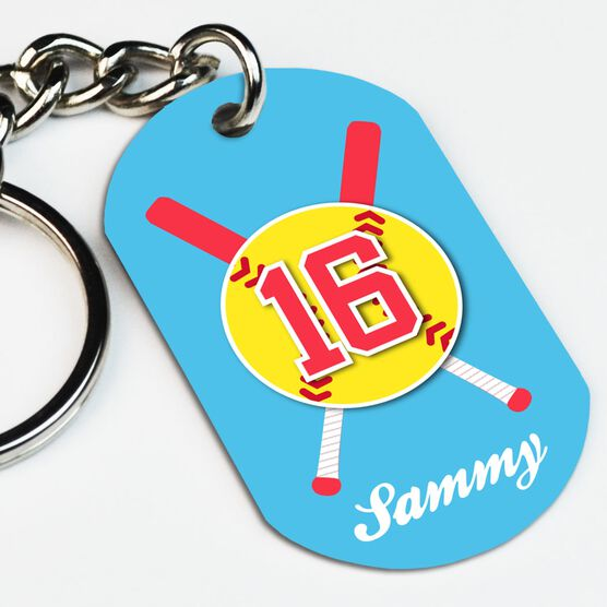 Softball Printed Dog Tag Keychain Personalized Crossed Bats and Ball