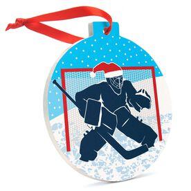 Hockey Round Ceramic Ornament - Santa Goalie