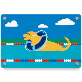Swimming Metal Wall Art Panel - Finn The Swim Dog