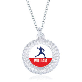 Baseball Braided Circle Necklace - Pitcher Silhouette With Name