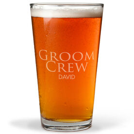 Personalized 16 oz. Beer Pint Glass - Groom Crew