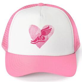 Cross Country Trucker Hat Watercolor Heart Winged Foot