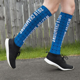 Soccer Printed Knee-High Socks - Soccer Team Name