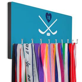 Hockey Hook Board Hockey Crossed Sticks with Heart