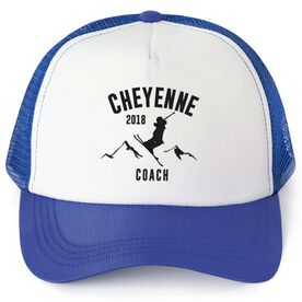 Skiing Trucker Hat - Team Name Coach With Curved Text