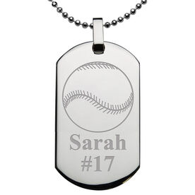 Softball Engraved Stainless Steel Dog Tag Necklace