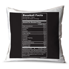 Baseball Throw Pillow Baseball Facts