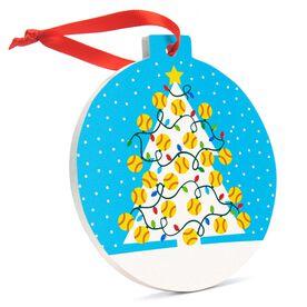 Softball Round Ceramic Ornament - Christmas Tree