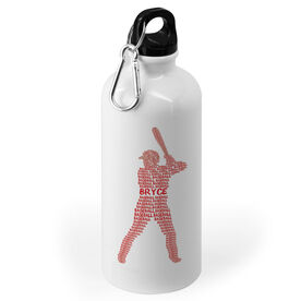 Baseball 20 oz. Stainless Steel Water Bottle - Personalized Baseball Words Batter