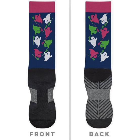Girls Lacrosse Printed Mid-Calf Socks - Ghosts with Lacrosse Sticks