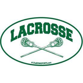 Lacrosse Crossed Sticks Oval Car Magnet (Green)