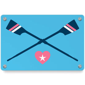 Crew Metal Wall Art Panel - Crossed Oars With Heart