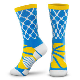 Basketball Woven Mid-Calf Socks - Hoop and Ball (Blue/Yellow)