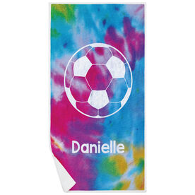 Soccer Premium Beach Towel - Personalized Tie-Dye with Ball