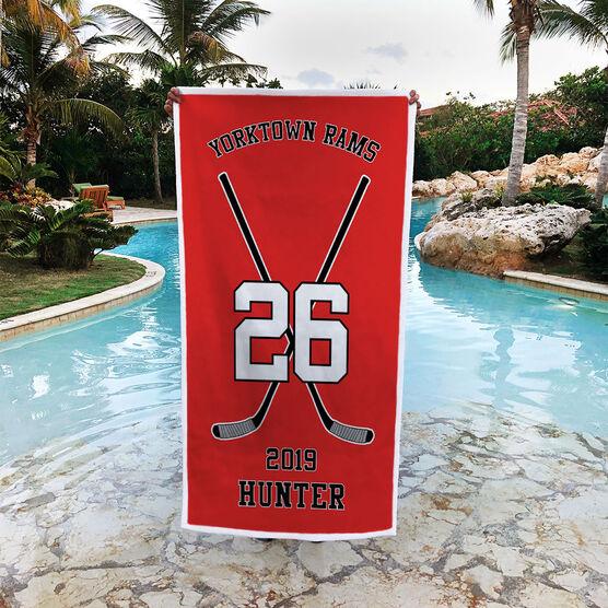 Hockey Premium Beach Towel - Personalized Team Crossed Sticks