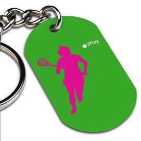 Lacrosse Printed Dog Tag Keychain iPlay Lacrosse (Female)