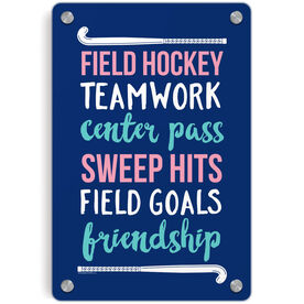 Field Hockey Metal Wall Art Panel - Words with Sticks