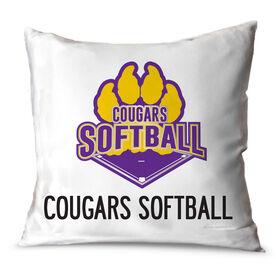 Softball Throw Pillow Custom Logo With Team Name