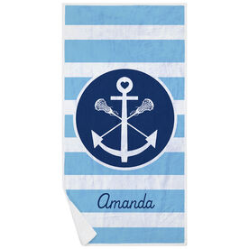 Girls Lacrosse Premium Beach Towel - Personalized Sticks Anchor