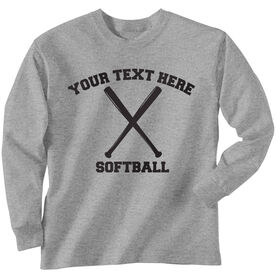 Custom Softball T-Shirt Long Sleeve