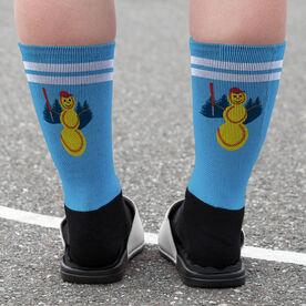 Softball Printed Mid-Calf Socks - Softball Snowman