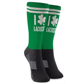 Girls Lacrosse Printed Mid-Calf Socks - I Shamrock Lacrosse with Girl Silhouette