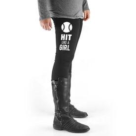 Softball High Print Leggings - Hit Like A Girl (White)