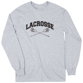Guys Lacrosse Long Sleeve T-Shirt - Crossed Sticks