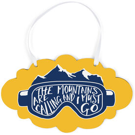 Skiing and Snowboarding Cloud Sign - The Mountains Are Calling Goggles