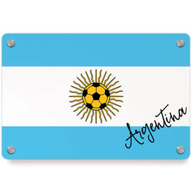 Soccer Metal Wall Art Panel - Argentina