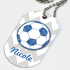 Soccer Printed Dog Tag Necklace Personalized Glitter Soccer Ball