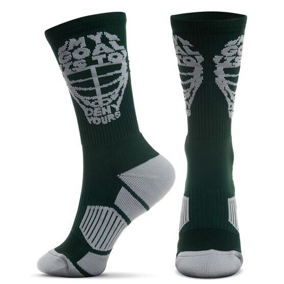 Guys Lacrosse Woven Mid-Calf Socks - My Goal is to Deny Yours Helmet