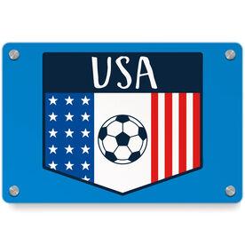 Soccer Metal Wall Art Panel - USA Crest