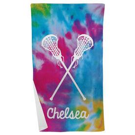 Lacrosse Beach Towel Personalized Tie Dye Pattern with Sticks