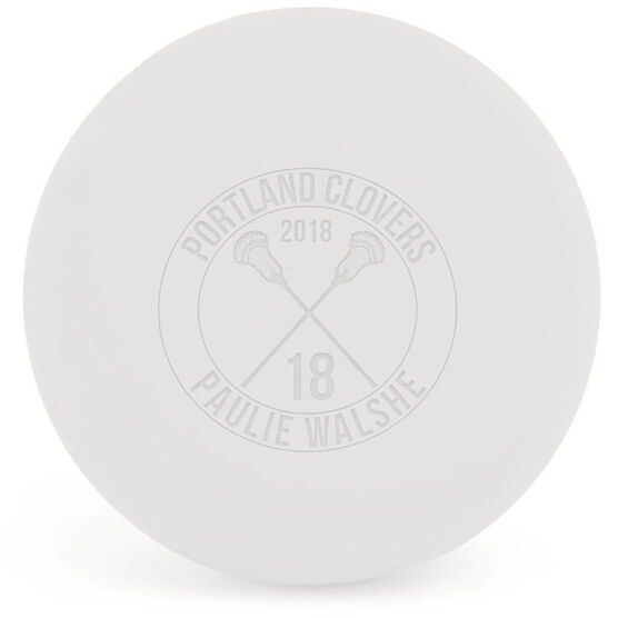 Personalized Engraved Lacrosse Ball Team Circle With Crossed Sticks (White Ball)