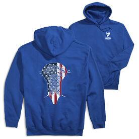Guys Lacrosse Hooded Sweatshirt - Patriotic Stick (Logo Collection)