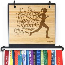 Engraved Bamboo BibFOLIO+™ Race Bib and Medal Display Believe Running Girl