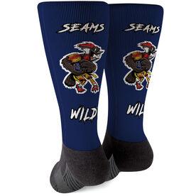 Seams Wild Football Printed Mid-Calf Socks - Woodwind