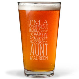 Personalized 16 oz. Beer Pint Glass - That's My Aunt