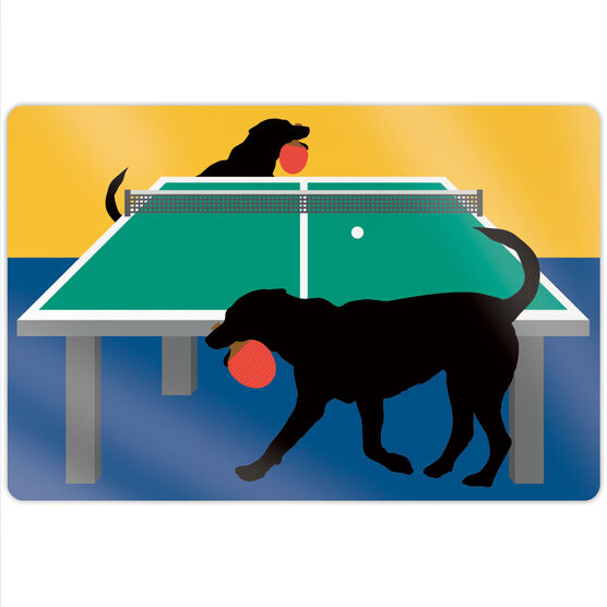 """Ping Pong 18"""" X 12"""" Aluminum Room Sign - Pongo The Ping Pong Dog"""