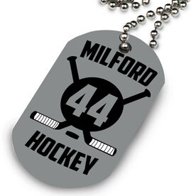 Hockey Printed Dog Tag Necklace Personalized Crossed Sticks and Numbers