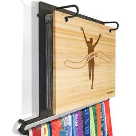 Engraved Bamboo BibFOLIO Plus Race Bib and Medal Display Pride Is Forever Female