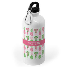 Girls Lacrosse 20 oz. Stainless Steel Water Bottle - Personalized Pineapples
