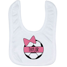 Soccer Baby Bib - Personalized Soccer Ball Bow