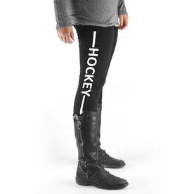 Hockey High Print Leggings - Hockey Stick Word